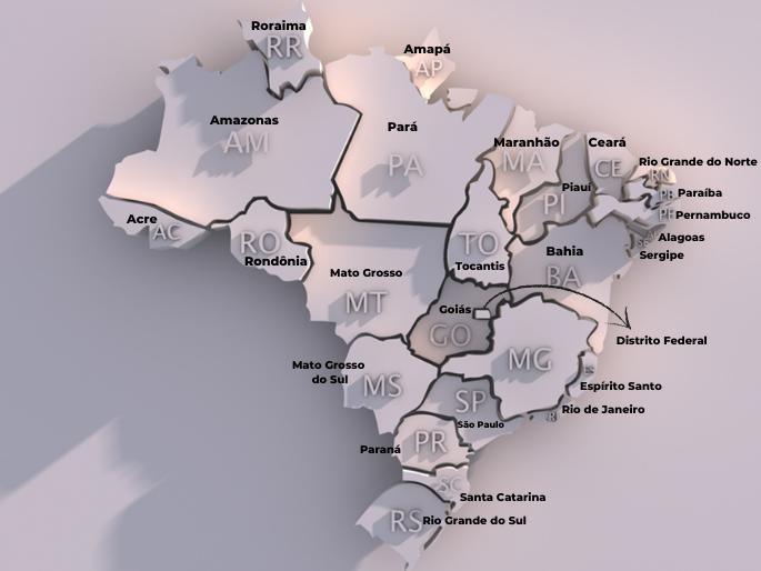 mapa dos estados brasileiros e suas siglas