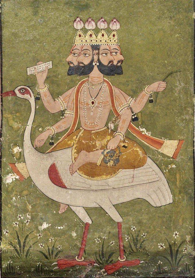 Deus Brahma montado em Hansa (cisne)