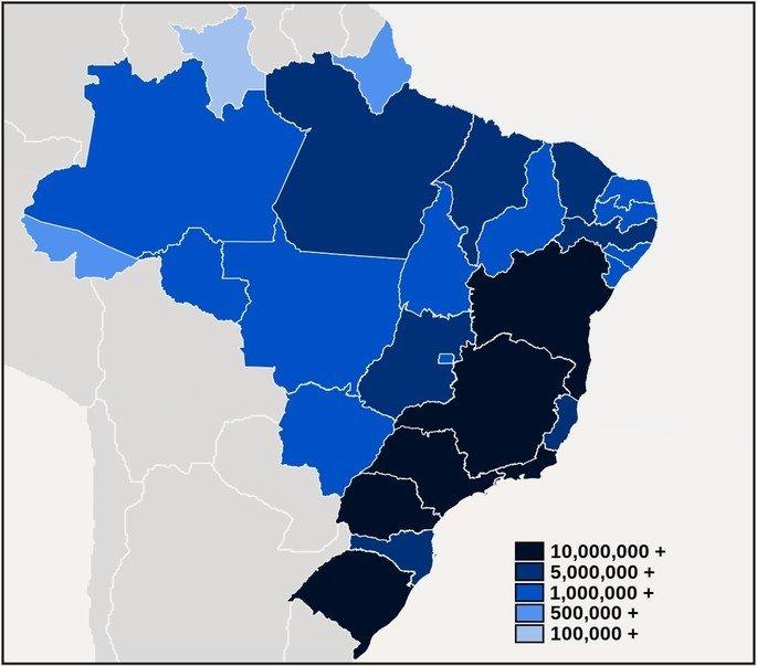 mapa demográfico da população brasileira