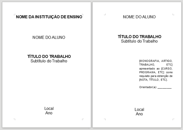 Capa e Folha de Rosto - ABNT