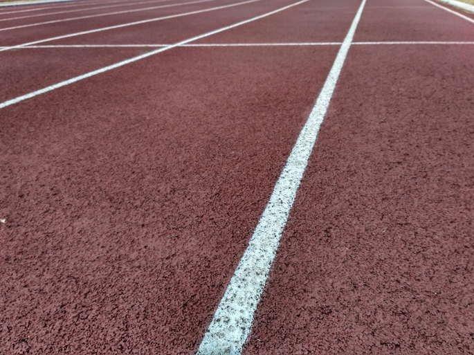 Detalhe de uma pista de atletismo