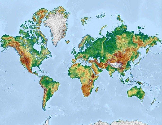 mapa-mundi físico