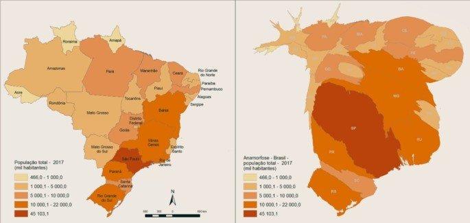 Mapa da população brasileira e sua respectiva anamorfose