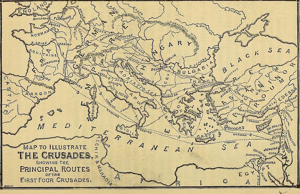 Mapa das primeiras cruzadas